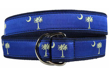 Palmetto Tree and Crescent Moon Ribbon Belt (D-Ring)