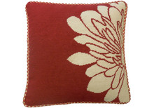 Red Blossom Needlepoint Pillow