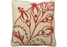Big Leaf Needlepoint Pillow Red