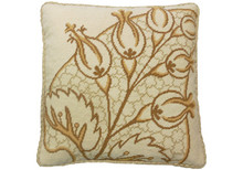 Big Leaf Needlepoint Pillow Brown and Gold