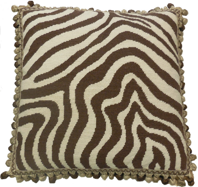 Zebra Print Needlepoint Pillow