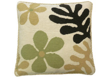 Mod Flowers Needlepoint Pillow