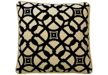 Brown Scroll Circles Needlepoint Pillow