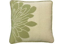 Green Blossom Needlepoint Pillow