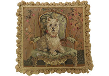 Westie on Chair Needlepoint Pillow