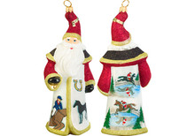 Equestrian Santa Glass Christmas Ornament