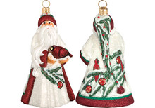 Cardinal Santa Glass Christmas Ornament