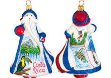 Costa Rica Santa Glass Christmas Ornament