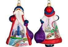 Chicago Santa Glass Christmas Ornament