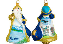 Alaska Santa Glass Christmas Ornament