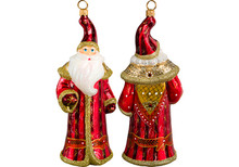 Czech Inspired Santa Glass Christmas Ornament