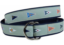 Yacht Club Burgees Ribbon Belt (D-Ring) Green