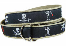 Pirate Flags Ribbon Belt Black (D-Rings)