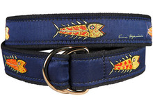 Fish Ribbon Belt on Blue (O-Rings)
