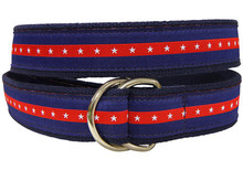 Blue Stripe with Stars Ribbon Belt