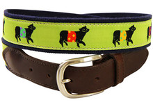 Belted Cow Ribbon Belt (Leather Tab) on Lime
