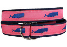 Whale Ribbon Belt (D-Rings) Blue on Coral