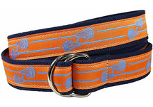 Lacrosse Sticks Ribbon Belt in Orange (D-Ring)