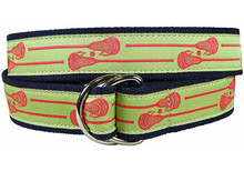 Lacrosse Sticks Ribbon Belt in Lime (D-Ring)