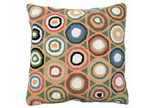 Green Pennies Hooked Wool Pillow