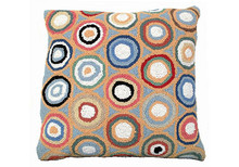 Blue Pennies Hooked Wool Pillow