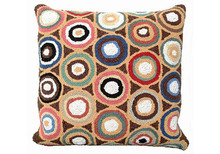 Brown Pennies Hooked Wool Pillow