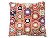 Red Pennies Hooked Wool Pillow