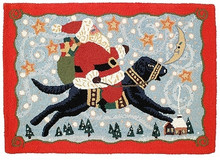 Santa on Black Lab Hooked Wool Rug