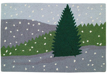 Winter Scene Hooked Wool Rug