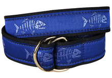 Rogue Fish Ribbon Belt on Ocean Blue (D-Rings)