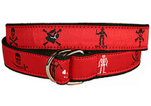 Pirate Flags Ribbon Belt Red (D-Rings)