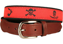 Pirate Flags Ribbon Belt Red (Leather Tab)