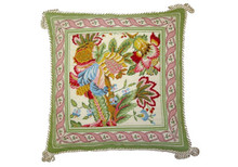 Flowers with Pink and Green Border Needlepoint Pillow II