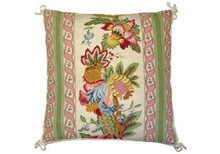 Flowers with Pink and Green Border Needlepoint Pillow I