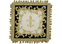 Fleur de Lis Needlepoint Pillow (Navy)