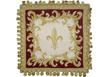 Fleur de Lis Needlepoint Pillow (Wine)