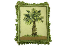 Palm Tree Needlepoint Pillow (B)