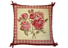 Red Flowers Needlepoint Pillow