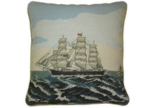 Tall Ship Needlepoint Pillow