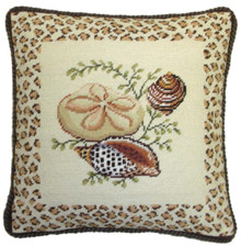 Shell with Animal Print Border Needlepoint Pillow