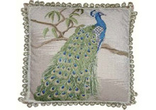 Peacock Needlepoint Pillow (standing)