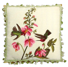 Hummingbirds with Pink Flowers Needlepoint Pillow