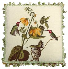 Hummingbirds and Yellow Flower Needlepoint Pillow