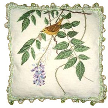 Bird with Lavender Flower Needlepoint Pillow