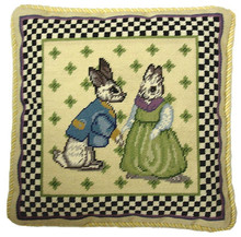 Bunnies Needlepoint Pillow