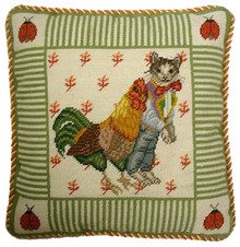 Cat and Rooster Needlepoint Pillow