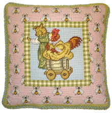 Bear and Hen Needlepoint Pillow