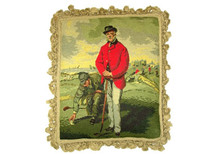 Golfer in Red Coat Needlepoint Pillow
