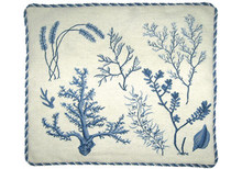 Seaweeds and Coral Needlepoint Pillow (Blue)