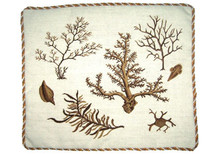 Seaweeds and Coral Needlepoint Pillow (Brown)